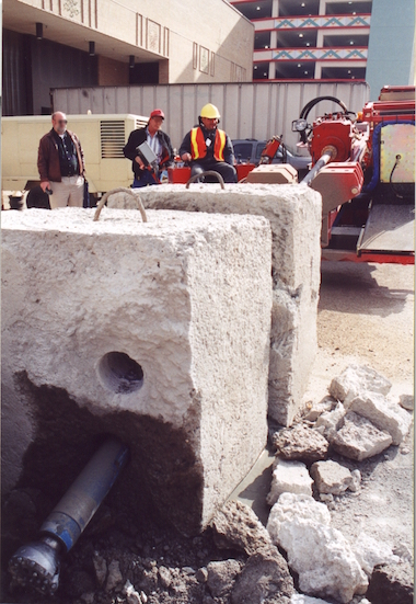 Scorpio 903 DDD rig, drilling reinforced concrete blocks, during a demonstration in a trade show Shreveport Louisiana, USA - 2001