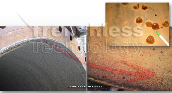 The inner wall of the water main before (right) and after (left) the rehabilitation treatment by CML.