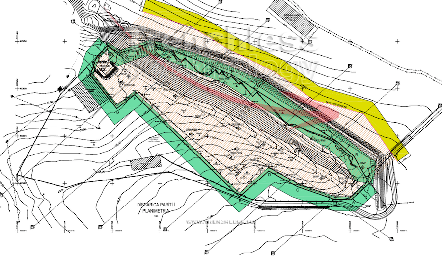 Plan view of the PARITI landfill - more than 300 directional boreholes were drilled to construct the underground screen.
