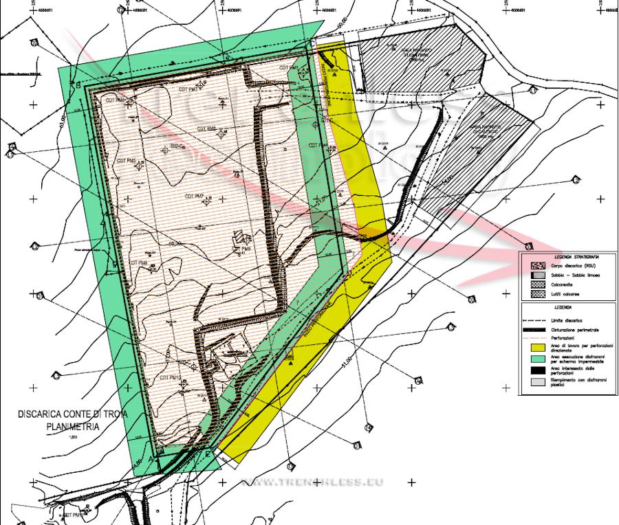 Plan view of the CONTE DI TROIA landfill - more than 200 directional boreholes were drilled to construct the underground screen.