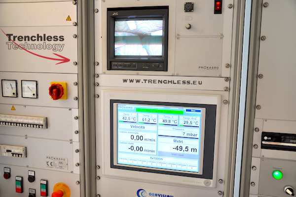 The control console of the UV curing process.
